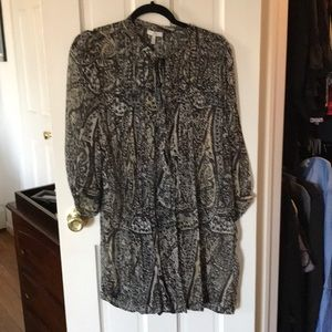 Joie paisley print shirt dress with a brown slip